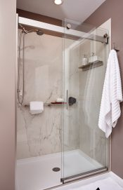 Large format porcelain shower surround